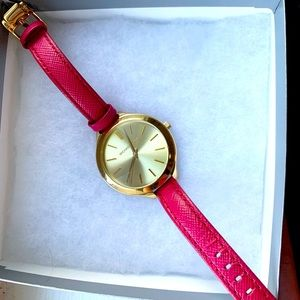 Michael Kors Watch Gold with Pink Leather Band